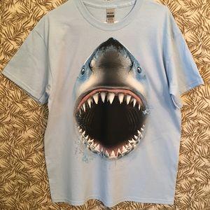 T Shirt Great White Shark Blue L NEW NWOT